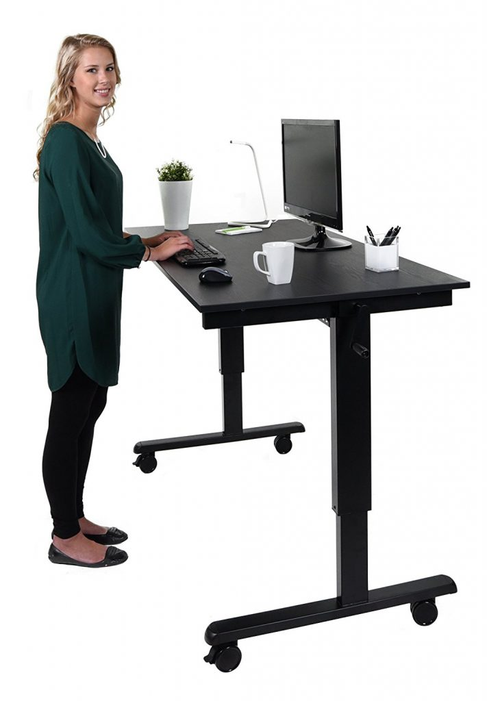 the height adjustable standing desk crank or electric. Black Bedroom Furniture Sets. Home Design Ideas