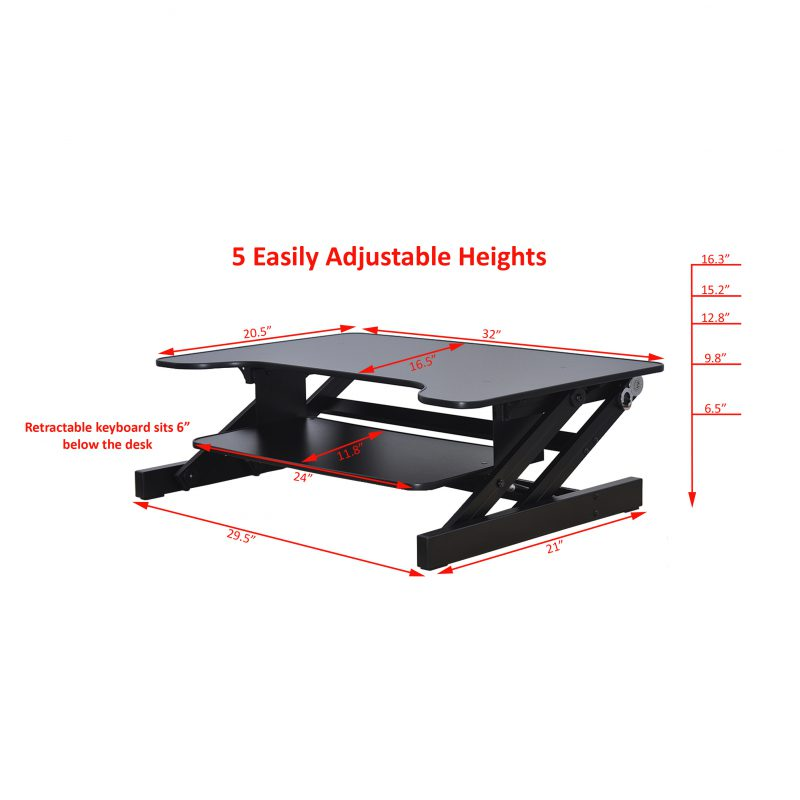 16 3 H X 32 W Stand Desk Riser With Monitor Stand Adr 1